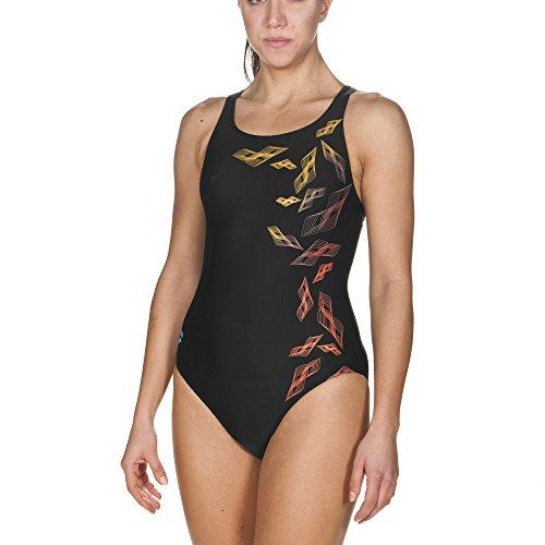 arena Damen Sport Badeanzug Maracala (Schnelltrocknend, UV-Schutz UPF 50+, Chlor- /Salzwasserbeständig), Black-Turquoise (508), 42