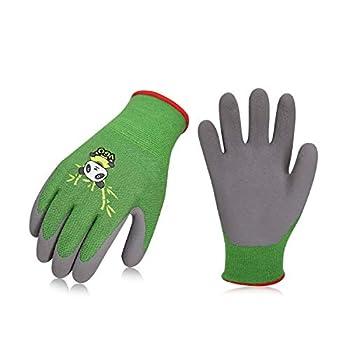 Vgo 2-Pairs Age 3-5 Kids Gloves Bamboo Fibre Gardening Gloves Children Yard Work Gloves Soft Safety Rubber Gloves  Size XXXS Green KID-RB6026