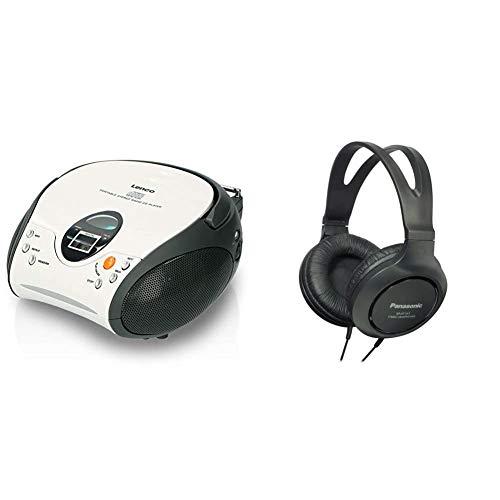 Lenco SCD24 - CD-Player für Kinder - CD-Radio - Stereoanlage - Boombox - UKW Radiotuner - Weiß & Panasonic RP-HT161E-K HiFi-Kopfhörer (2 m langes Kabel, 10-27.000 Hz, 30 mm Wandler) schwarz