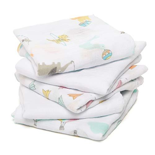 anais couvertures-doudous issie 100/% mousseline de coton bord/és de satin pack de 2 aden by aden safari babes 40cm X 40cm
