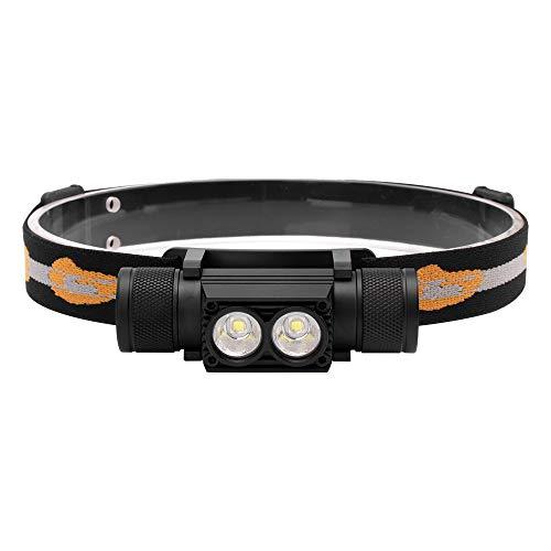 Faros LED Linterna recargable USB Linterna frontal superbrillante 6 modos de iluminación, impermeable, ajustable, desmontable, 2 luces LED mini XM-L2 para acampar, pescar, correr, ir de excursión.