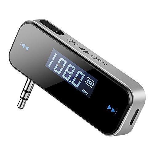 Patuoxun topelek trasmettitore FM di Auto Senza Fili con Display LCD 3.5mm Audio per iPhone 8, 5S 5C 4S 4, Samsung Galaxy, Huawei, Wiko e Altri telefoni Intelligenti, Lettore MP3–-Noir