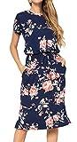 Simier Fariry Vestido midi casual floral para mujer con bolsillos - azul - Large