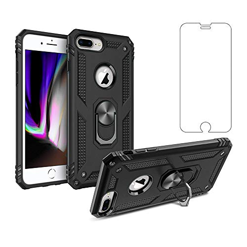 Asuwish Phone Case for Apple iPhone 8 Plus / 7 Plus / 6S Plus / 6 Plus with Tempered Glass Screen Protector Ring Holder Stand i Phone7s Phone6s 8plus 7plus 6plus 6splus Shockproof Back Cover (Black)
