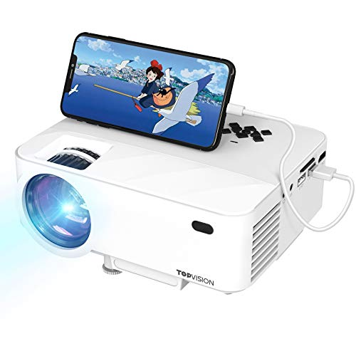 TOPVISION Projector, Compact, 2 Built-In Speakers, Connects to Smartphones, Computers, Tablets, Game Consoles, DVD Players, USB, etc., HDMI Cable Included