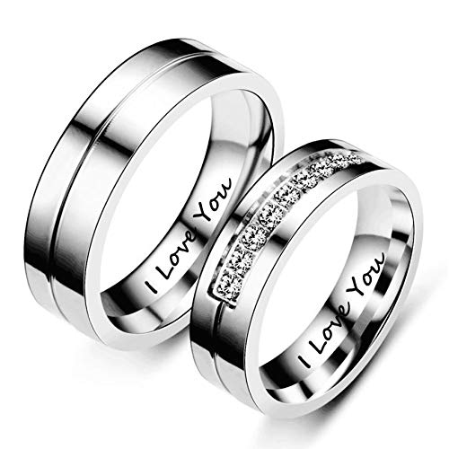 Ubestlove Commitment Rings for Women Engraved I Love You Ring with Zirconia Matching Rings for Couples J½ L½
