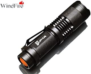 WindFire New Super Bright SK98 1600lm CREE XML T6 LED Zoomable Flashlight Mini 18650 Battery Torch Lamp Light Supports Zoom in & out Black