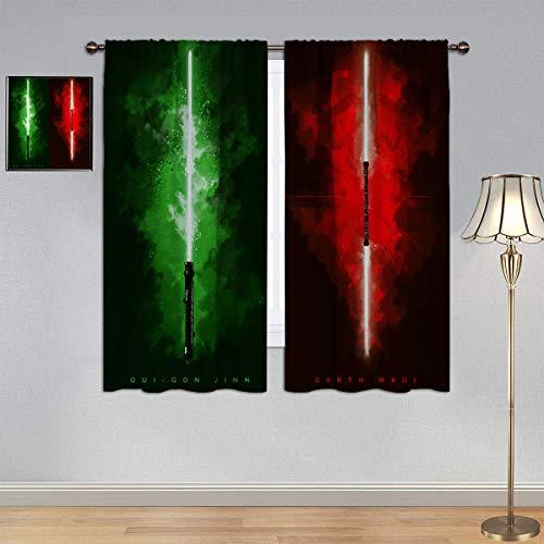 ARYAGO Cortinas Black Out con sable de luz de Star Wars, cortinas Qui Gon Jinn & Darth Maul con bolsillo para barra para dormitorio/sala de estar 153 x 182 cm