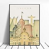 WSHIYI Silueta del Edificio de la Ciudad Lisboa Portugal Skyline Vintage Wall Art Canvas Painting Poster Home Decoration-50x70cm sin Marco