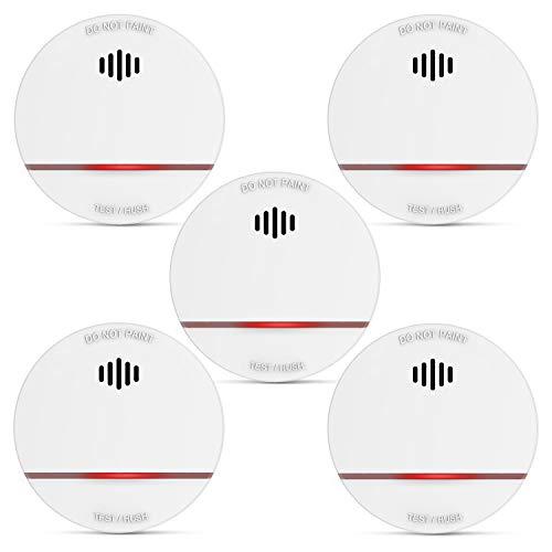 Rauchmelder SM03, Rauchmelder mit 10 Jahre Batterie, EN14604, CE-zertifizierter Feuermelder, Batteriebetriebener Funk Brandmelder, Lichtschranke, Niederspannungsalarm, LED-Warnung 5er Set