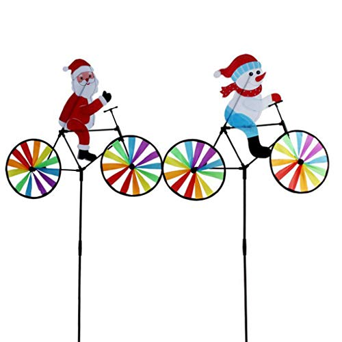 Lunji Weihnachten Windspiel - 3D Radfahren Weihnachtsmann Schneemann Groß Windmühle Wind Spinner Whirligig Yard Outdoor Garden Dekoration, 2 Stück