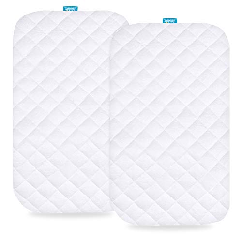 Biloban Waterproof Bassinet Mattress Pad Cover Compatible with MiClassic 2in1 Stationary&Rock Bassinet, 2 Pack, Ultra Soft Bamboo Sleep Surface, Breathable and Easy Care