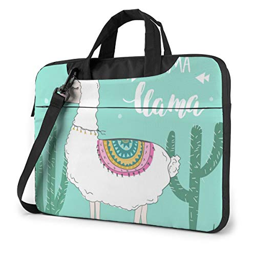 Laptop Case 14in Cute Funny Llama Or Alpaca Laptop Carrying Protective Case Sleeve Briefcase Messenger Shoulder Bag for Women Men Travel