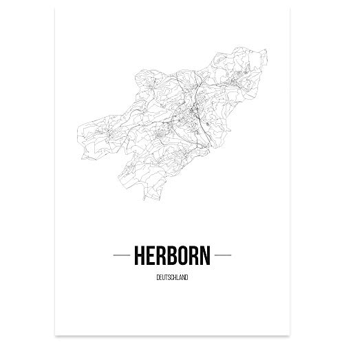 JUNIWORDS Stadtposter - Wähle Deine Stadt - Herborn - 40 x 60 cm Poster - Schrift B - Weiß