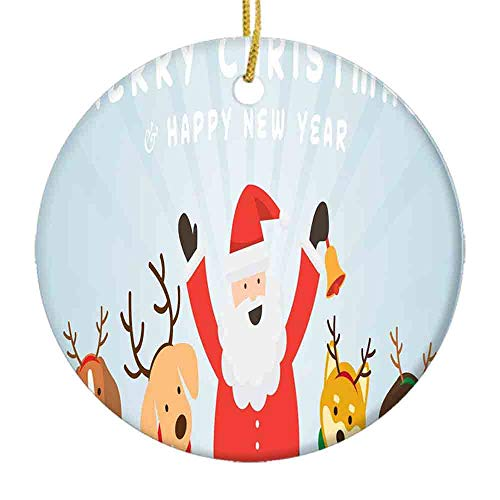 9 shbixmashdho Christmas Ornaments|Happy New Year Lettering Along Santa and Pets Happy AnimalsCeramic Ornament|Holiday Xmas Tree Decorations Ornament|Cute Ceramic 2.85in