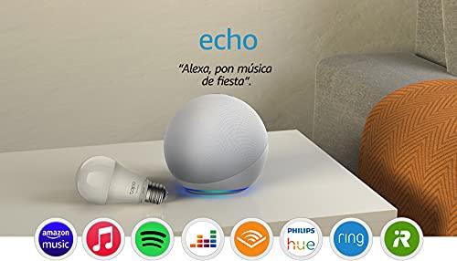 Echo (4.ª generación) | Sonido de alta calidad | Blanco + TP-Link Tapo Bombilla Inteligente (E27), compatible con Alexa