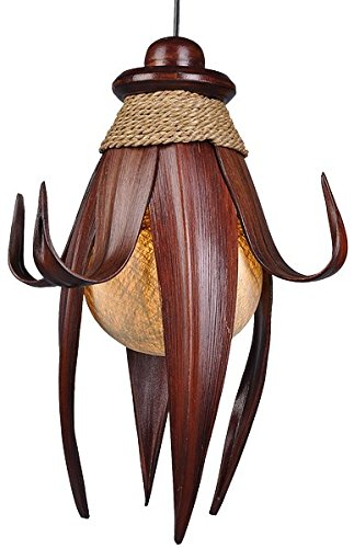 Deko-Leuchte LOTUS, 8 Blätter, Deckenlampe aus Natur-Materialien,