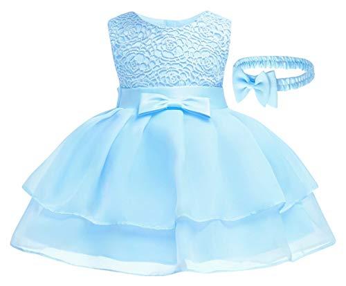 DEMU baby meisjes prinses jurk met hoofdband bruiloft bloemen bowknot doopjurk 3M blauw