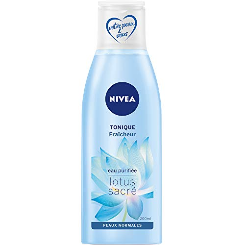 NIVEA Tonique Fraîcheur, lotion tonique visage enrichie en Lotus sacré et en eau purifiée, nettoyant pour peaux normales, soin visage femme, 200 ml