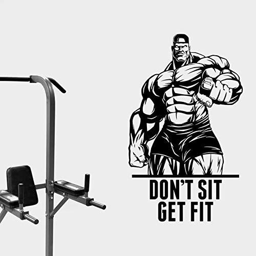 DLYD Setzen Sie Sich Nicht Fitness Zitat Wandaufkleber Bodybuilder Vinyl inspirierende Übungsraum Fitness-Studio Center Studio Aufkleber Dekoration 42x69cm
