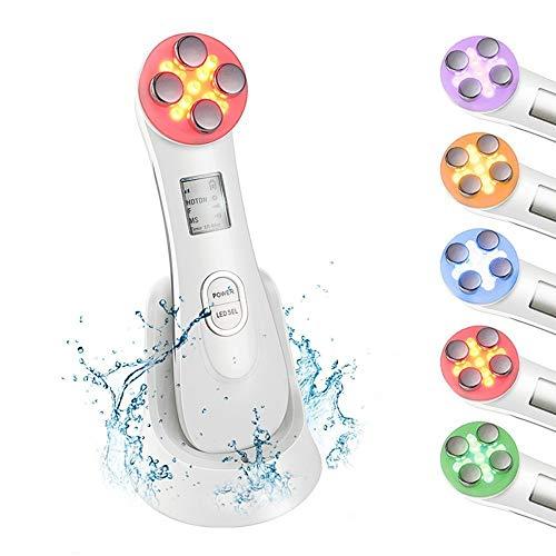 Masajeador de belleza por Ultrasonidos, 5 en 1 RF LED Facial Instrumento Multifuncional Dispositivo anti-edad Rejuvenecimiento de la piel Anti-arrugas Anti-acné Apriete de la Piel Limpieza facial
