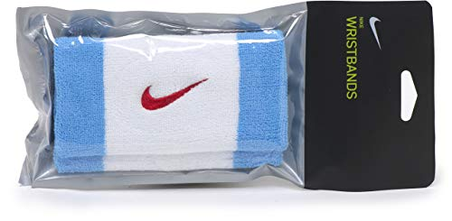 Nike Swoosh Doublewide Wristbands Polsiera, Unisex Adulto, Whiblured, Taglia Unica