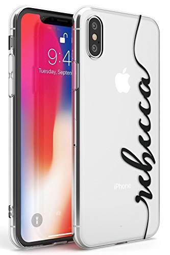 Case Warehouse iPhone XR El Nombre Personalizado Negro Claro Funda de Teléfono de Goma Cover Personalizado Iniciales Moda Linda Monograma