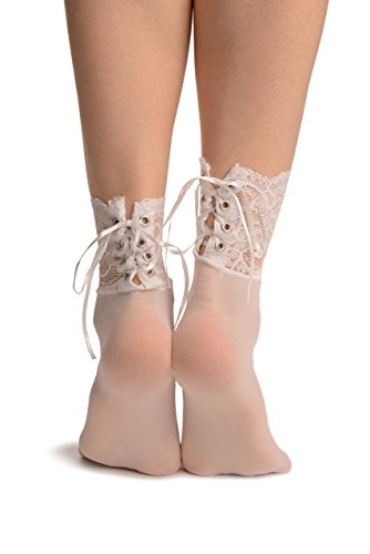 LissKiss White Opaque With Corset Back Lace - Weiß Socken Einheitsgroesse (37-42)
