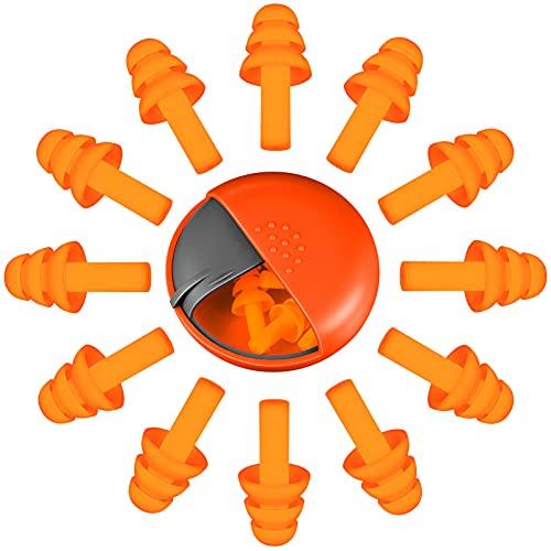 5 Pares Tapones de Oídos Reutilizables Tapones Auditivos de Silicona Suave Tapones de Oídos Impermeables de Cancelación de Ruido con Caja de Almacenaje para Dormir Nadar Viaje, Naranja