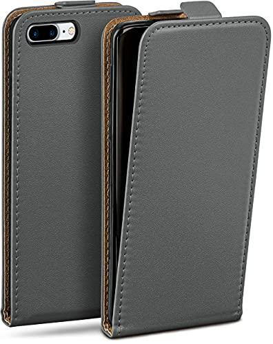 MoEx Flip Cover con Chiusura Magnetica Compatibile con iPhone 7 Plus/iPhone 8 Plus   Finta Pelle, Grigio Scuro