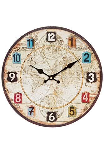 Reloj de pared – Reloj de cocina de madera con esfera grande...