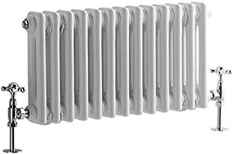 Hudson Reed - Regent - Crisp White Cast-Iron Style Radiator - Horizontal 2-Column - 11.75
