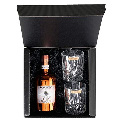 Bottega Bacur Dry Gin 40% Vol. (1 x 0,5 l) Geschenkset incl. zwei besonderen Gläsern im attraktiven Geschenkkarton