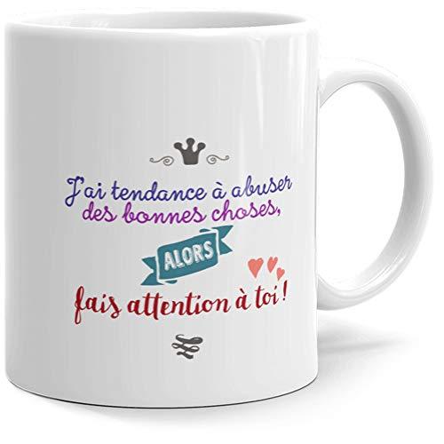 Taza con texto en inglés Jai Tendance à Abuser, idea de regalo original para amigos, pareja, enamorados, colegios, hermanas, hermanas, cumpleaños, Navidad, San Valentín, etc.