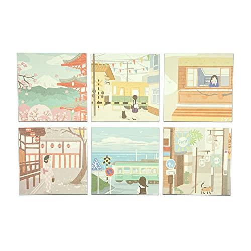 Kurimi 素材紙 和風 120枚 6パッド メモ帳 手帳 メッセージカード かわいい 素材用 粘着力なし (日和)