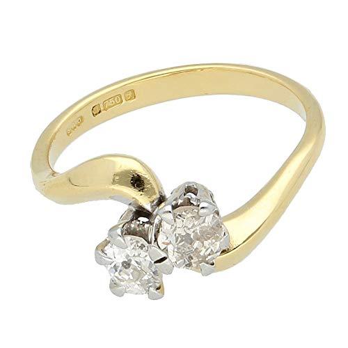 Anillo de oro amarillo de 18 quilates de 0,75 quilates con dos piedras de diamante de talla vieja/rosa (Talla L 1/2) | Anillo de lujo para mujer