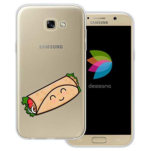 dessana Comic Food transparante beschermhoes mobiele telefoon case cover tas voor Samsung Galaxy A J, Samsung Galaxy A7 (2017), Taco Mexiko