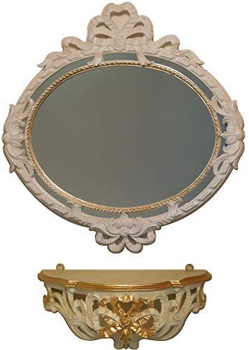イタリア製 JHAアンティーク風ミラー&コンソール エレガンス・ リボン柄(アイボリー&ゴールド)上・下セット IT-9S 壁掛け鏡 ウォールミラー オーバル ロココ 姫ミラー
