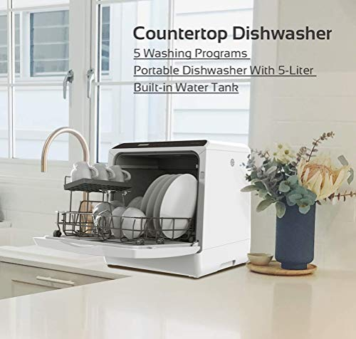 Countertop Dishwasher, 5 Washing Programs Portable Dishwasher With 5-Liter Built-in Water Tank For Glass Door