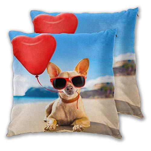 CDMT-XU1 Juego de 2 Fundas de Almohada para Perros con Gafas de Sol, con Forma de corazón, con Globos, Fundas de Almohada, 18 x 18 Pulgadas