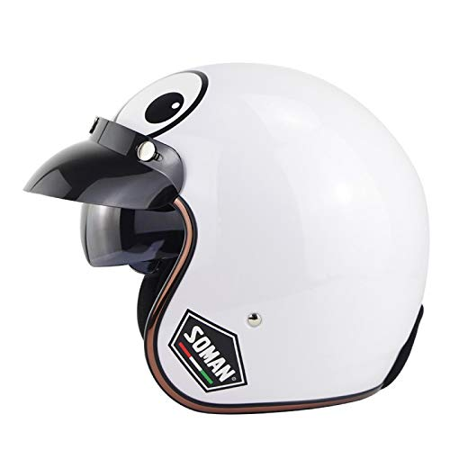 Casco Jet Harley Medio Casco Estilo Retro Gafas Integradas 3/4 Casco Certificado ECE Cruiser Chopper Scooter Ciclomotor Casco Anticolisión Adulto General,E-XL=(61~62cm)