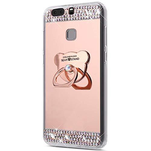 kompatibel mit Huawei P9 Plus Hülle,Glitzer Strass Schutzhülle Weich Silikon Hülle Diamant Spiegel TPU Silikon Hülle Handyhülle Tasche mit 360 Grad Ring Halter für Huawei P9 Plus,Rose Gold