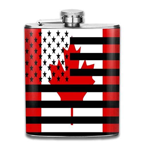 Flask Amerikaanse en Canadese Vlag RVS Kleine Hip Flask Mens Lekvrij Vlagon Outdoor Draagbare Flask voor Alcohol Whiskey Rum en Vodka