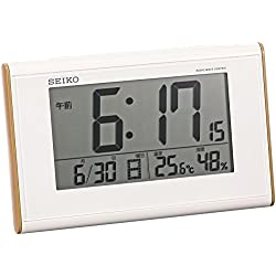 SEIKO Clock Clock Woodgrain high Viewing Angle Radio Digital Alarm Clock (White) SQ771B