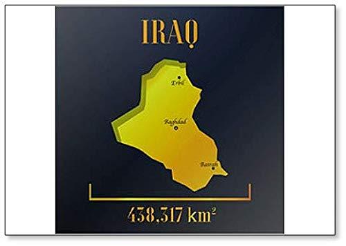Irak Golden Solid Country Outline Silhouette, realistisch stuk van de wereldkaart sjabloon Koelkast magneet