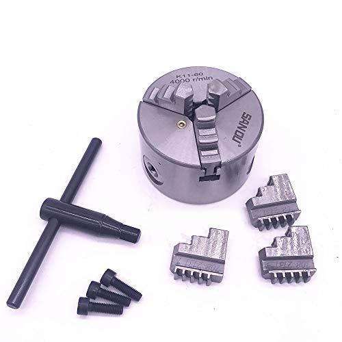 LIXUDECO Portabrocas 3 '3 mordazas K11-80 Mini TORNO Portabrocas autocentrantes K11 80 80 mm con llave y tornillos de acero endurecido para taladrar fresadora