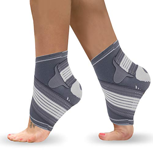 Ankle Support Brace Pair Adjustable Foot Compression Sleeve Strap Socks for Arthritis Achilles Tendonitis Sprained Heel Lift Ligament Damage Arch Supports Sports Running for Men Women L