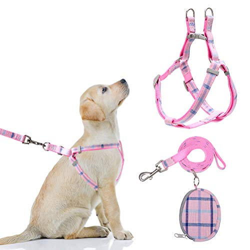 SCIROKKO Adjustable Dog Harness, Snack Bag and Leash Set with Classic Plaid Pattern, Soft and Durable, Exquisite Detachable Bag for Pets Outdoor, Pink
