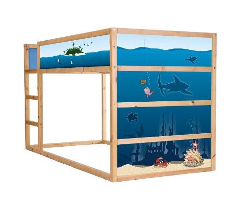 STIKKIPIX Unterwasserwelt Möbelfolie selbstklebend/Aufkleber - IM23 - passend für das Kinderzimmer Hochbett KURA von IKEA - Möbel Nicht Inklusive