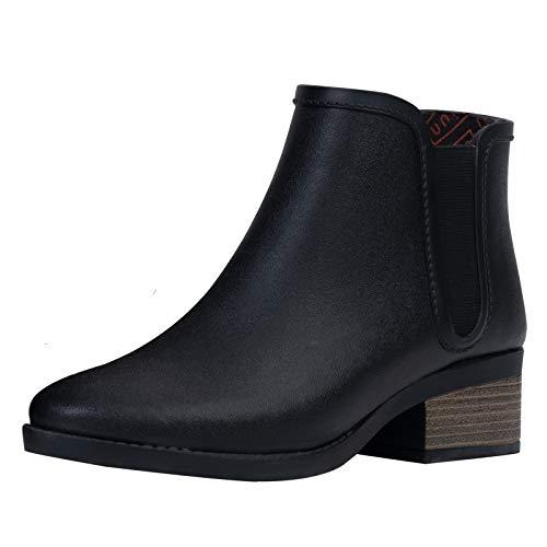 UNICARE Women's Chelsea Rain Boots Waterproof Short Ankle Rubber Rain Boots Anti-Slip Garden Shoes Handmade, Black, US Size 8